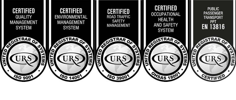 ISO 9001, ISO 14001, OHSAS 18001, ISO 39001 y UNE 13816 certifications