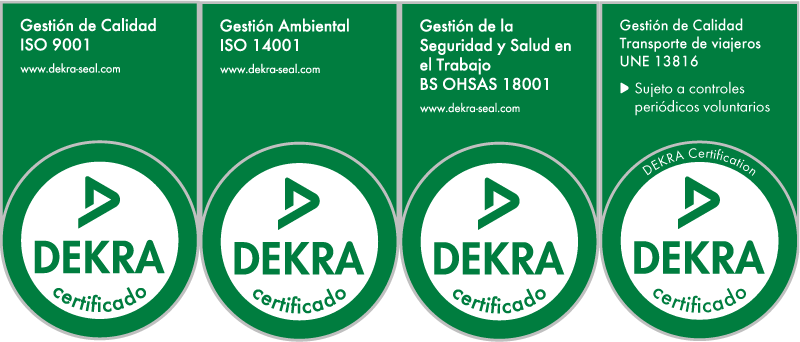ISO 9001, ISO 14001, OHSAS 18001 y UNE 13816 certifications